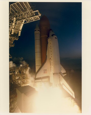 Astronauts Thornton and Akers in Space Shuttle Endeavour cargo bay Photo Print